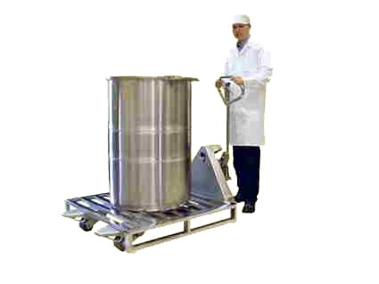 Stainless Steel Pallet Truck with a Stainless Steel Pallet and 200 liter Stainless Steel Drum